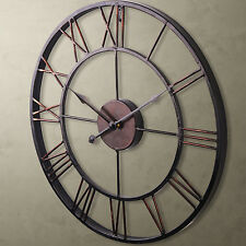 Oversized 24 Round Metal Wall Clock Large Rustic Art Analog Roman Numerals US