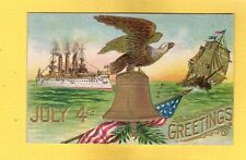 July 4th Greeting, Eagle on Bell, iron steamship, wooden sail boat