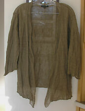 EILEEN FISHER CRINKLED TAUPE CARDIGAN SWEATER / SZ L