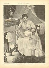 Mother & Child, Baby's Toilette, Warming Baby's Bed Clothes, 1892 Antique Print