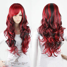 Fashion Black Mix Red Wig Long Wavy Curly Hair Women Cosplay Full Wigs