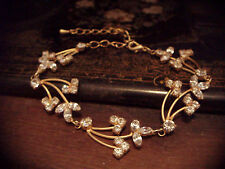 Vintage Clear Crystal Matt Gold Plated Bracelet