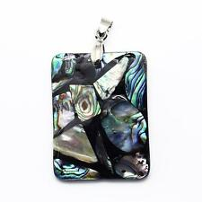Pendentif coquille abalone rectangle superbe unique 41mm x 31 mm