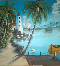 "Haiti painting, artist Ed Marzouka item # 32 size 20x20""ship on canvas"