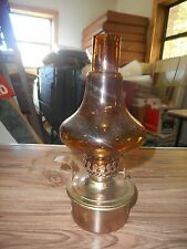 Vintage Oil Lamp Amber Glass and Brass