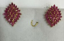 14k Solid Yellow Gold Omega Back Earrings With Natural Ruby 8.75CT5.49GM