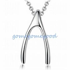 925 Sterling Silver - Korea Simple Bright Wish Bone Lady Party Cocktail Necklace