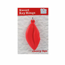 Key Ring Novelty Cherry Lips Charm Funny Gift Retro Bluw Cute Sweet Red