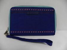 Roxy Women Phone Wristlet Royal Blue Bifold Zipper Wallet