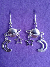 Planet * Moon * Star Earrings * Cosmic Jewellery * Space Moon Sun Stars Pagan