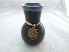 Small Ceramic One Piece Oil Burner in Black with a Blue Top and Metal Pendant.