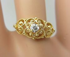 Vintage Antique 18K Yellow Gold Diamond Filigree Engagement Ring 0.08 ct