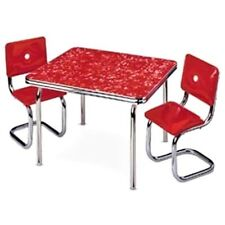 American Girl Molly Red Chrome Dinette Set 1940's Kitchen Table and Chairs