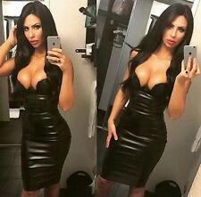 Womens Dress Sexy Leatherette Faux Leather Bustier Pencil Bodycon Celeb style
