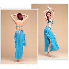 Professional Belly Dance Costume 2/3pcs full set Bra Top+Hip Belt+Long Skirt UK