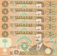 IRAQ 50 DINARS 1991 UNC 5 PCS LOT P.75 WITH SADDAM HUSSEIN