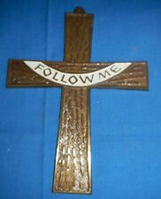 Vintage Large Solid Brass Wall Hanging Cross, Handmade by Terra Sancta Guild