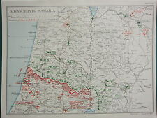 1918 WW1 MAP EGYPTIAN EXPEDITIONARY FORCE ~ ADVANCE INTO SAMARIA 10pm 18 SEPT