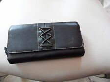 Black clutch wallet with lace design in front
