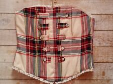 H&M Red Cream Tartan Check Plaid Basque Bodice Corset Top Punk Steampunk 12 14