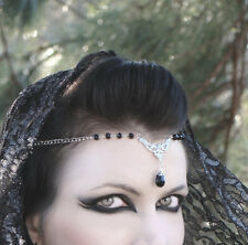 Black Beaded Circlet Gothic Headdress Elven Pagan Wiccan Crown USA SELLER