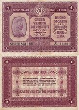 1918   Regno D'Italia  buono da  1 lira  Cassa Veneta dei Prestiti