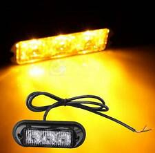 Amber 3 LED Waterproof Grille Car Truck Strobe Flash Emergency Warning Light 12V