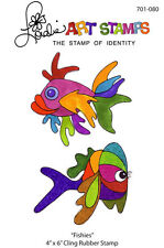 "Loralie Art Stamp - 701080 Fishies Tropical Fish - 4"" x 6"" Cling Rubber Sheet"