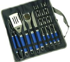 Blue 17 Piece Stainless Steel BBQ Grilling Tools Set / Outdoor BBQ Utensils