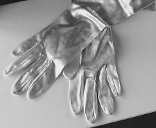 Silver Lame' Fabric long Evening Gloves Vintage size small