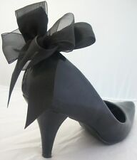 Black Shoe Clips 4 Shoes Satin Bows Vintage Pinup Burlesque Formal UK Handmade