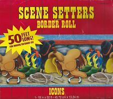50' WESTERN ICONS SCENE SETTERS BORDER Horse Rodeo Cowboy Party Wall Decoration