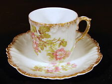 Cup & saucer porcelain Limoges Haviland 19 thC décor Baltimore Rose