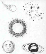 SKY WATCH!  Sun Moon Stars Saturn Comet 5 UNMounted rubber stamps!