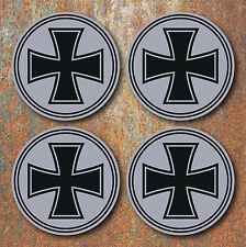 Iron Cross Wheel Centres Stickers 58mm Round Silver Hot Rat Rod VW Camper Beetle