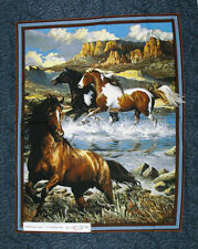 Country Patchwork Quilting Fabric WESTERN HORSES LARGE Panel 90 x 110cm New M...