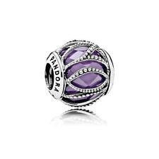 New Authentic Pandora Charm Bead Intertwined Radiance Purple Clear 791968ACZ