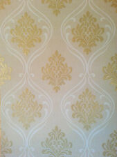 Winchester Damask Glitter Sparkle Textured Vinyl Wallpaper Beige / Gold FD40662