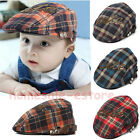 Baby Infant Kid Boy Beret Cap Check Cabbie Pageboy Newsboy Peaked Casquette Hat
