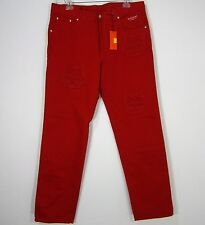 HISTORY ICEBERG FELIX THE CAT MADE IN ITALY NWT DENIM JEANS SIZE 38(EU), RED
