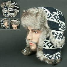 Ear Flap FFR Navy white Chullo Skull Beanie Russian Hat Cap Ear Warmer Outdoor