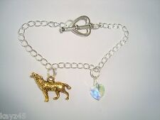 Sterling chain link charm Bracelet Swarovski crystal heart and golden Wolf charm