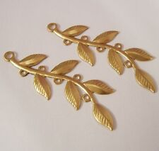 4- Brass Stamping Embellishment Leaf Branch Pendant Connector Jewelry Findings.