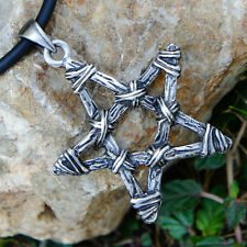 Stick twig bundle Pentacle Pentagram Star witchcraft Magic Wicca Pewter Pendant