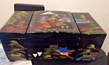 Vintage Black Laquer Mother Pearl Jewelry Box Musical Asian Oriental Chinese