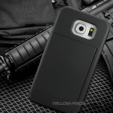 Credit Card Slot Holder Hybrid Armor Phone Cover Stand Case Samsung Galaxy S6