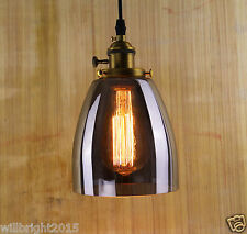 Industrial Retro Vintage Brass Smoke Glass Shade Ceiling Chandelier Pendant LAMP