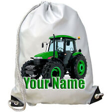 GREEN TRACTOR PERSONALISED GYM / PE / DANCE/ SWIMMING BAG - GREAT NAMED GIFT