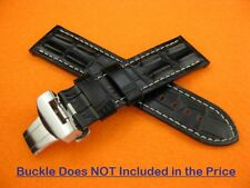 24mm HORNBACK CROC Deployment Leather Strap Black Watch Band PANERAI PAM W