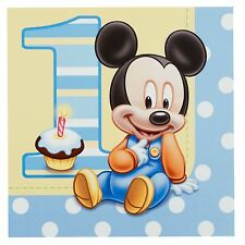 """16 Disney Baby Mickey Mouse 1st Birthday Party 6.5"""" Lunch Napkins Serviettes"""
